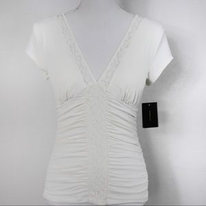 T574 HeartSoul Off White Blouse Padded Cups Small